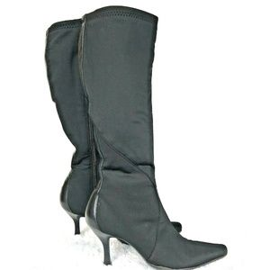 Nine West Knee Boot Point Toe Back Zip Black